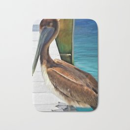 Dockside Pelican by Barbara Chichester Paintographer Bath Mat