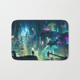 Cyberpunk City Bath Mat