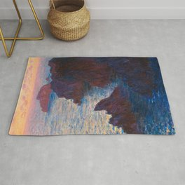 Claude Monet Impressionist Landscape Oil Painting Sunset At Sea Cliffs Ocean Cliff Landscape Rug