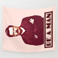 swanson Wall Tapestries featuring Be A Man  |  Ron Swanson by Silvio Ledbetter