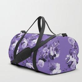 Modern trendy floral ultra violet purple pattern Duffle Bag