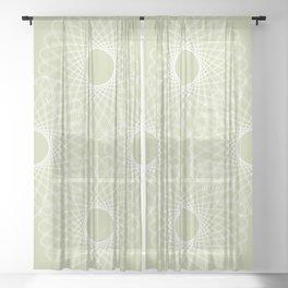 mathematical rotating roses - powder green Sheer Curtain