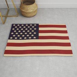 American Flag Vintage Americana Red Navy Blue Beige Rug