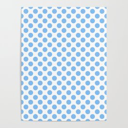 Light blue and white polka dots pattern Poster
