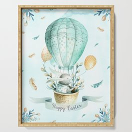 Cute Easter Bunny Hot Balloon Serving Tray