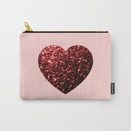 Red Glitter sparkles Heart Carry-All Pouch