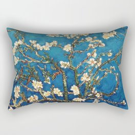 Almond Tree in Blossom - Blue Motif by Vincent van Gogh Rectangular Pillow