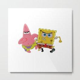 Spongebob and Patrick Annoyed Metal Print