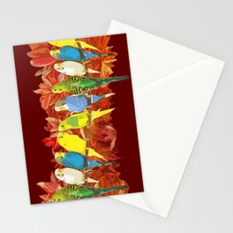 Colorful budgies pattern Stationery Cards