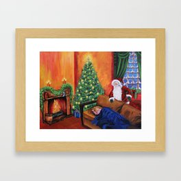 Christmas waiting for Santa Framed Art Print