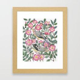 Doves & Wild Roses Framed Art Print
