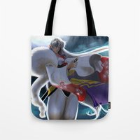 inuyasha Tote Bags featuring Sesshomaru by Archiri Usagi