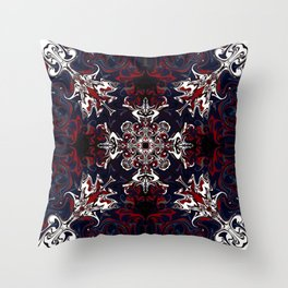 Psychedelic Black, Red and White Pattern Throw Pillow