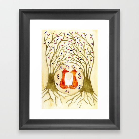 Two Foxes Meet In The Trees Framed Art Print