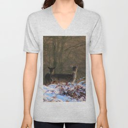 Deer in First Snow of Winter Unisex V-Neck
