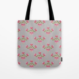 Flower bouquet on a gray striped background. Tote Bag
