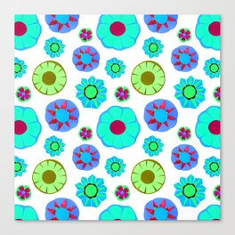 Flower Pattern-Teal Canvas Print