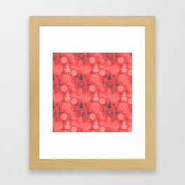 Coral Chinoiserie Framed Art Print