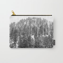 Mountain Snowfall // Snowy Peak Winter Landscape Photography Black and White Art Print Carry-All Pouch