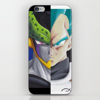 vegeta iPhone & iPod Skins featuring Cell vs Vegeta  by ADCArtAttack
