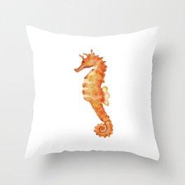 Cute watercolor orange seahorse Throw Pillow