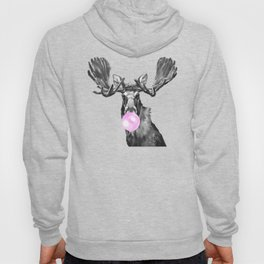 Bubble Gum Moose in Black and White Hoody
