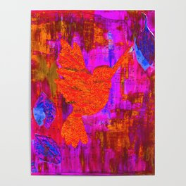 Humming Bird - Bright Red and Purple Poster