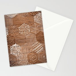 hexagon doodle patterns on wood Stationery Cards