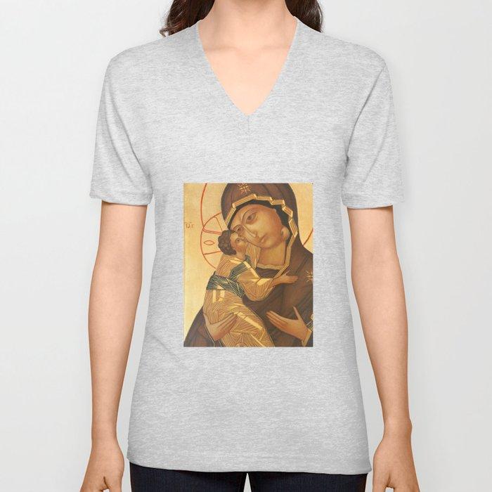 Orthodox Icon of Virgin Mary and Baby Jesus Unisex V-Neck