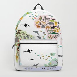 Cartoon animal world map for children and kids, Animals from all over the world back to school Backpack