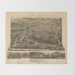Vintage Pictorial Map of Asheville NC (1891) Throw Blanket