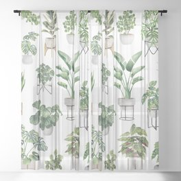 Potted Plants Collection 1 Sheer Curtain