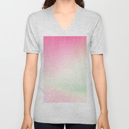 Abstract modern blush pink green watercolor paint Unisex V-Neck
