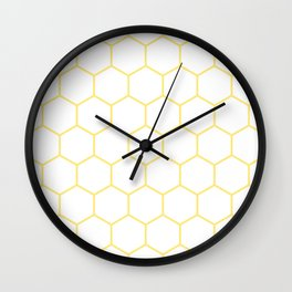 Inverted Yellow Hex Wall Clock