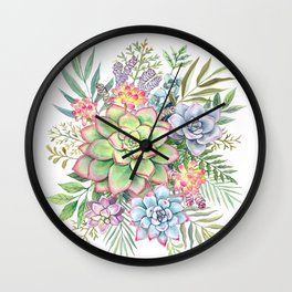 Watercolor Succulents #51 Wall Clock
