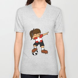Switzerland Soccer Ball Dabbing Girl Swiss Football Unisex V-Neck