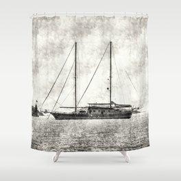 Vintage Schooner Shower Curtain