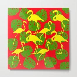 Flamingos and Monstera Pattern D Metal Print