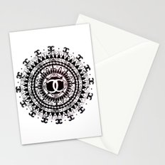 Designer Fashion Black and White Floral High-End Couture Mandala Stationery Cards