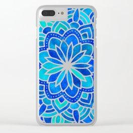 Mandala Iridescent Blue Green Clear iPhone Case