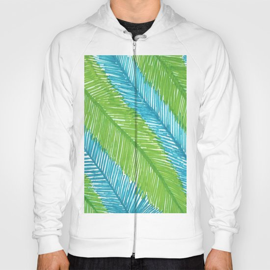 Blue and Green Palm Leaves Hoody