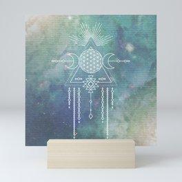 Mandala Flower of Life in Turquoise Stars Mini Art Print
