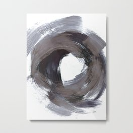 Circular Gestural Brushstroke Grey Abstract Painting Metal Print