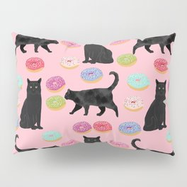 Black cat donuts cat breeds cat lover pattern art print cat lady must have Pillow Sham