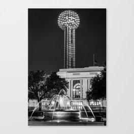 Dallas Texas Reunion Tower and Fountain - Monochrome Canvas Print
