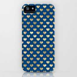 Cute Blue and Gold Heart Pattern iPhone Case