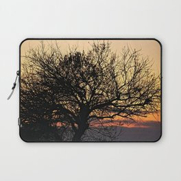 Silhouette Bare Tree  Branches Sunset Sky Laptop Sleeve