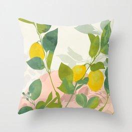 peachy lemons pastel Throw Pillow