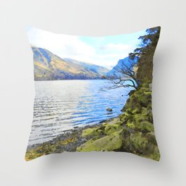 Little Tree at Buttermere, Lake District, England Watercolour Painting Throw Pillow