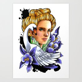 Victorian woman - The Swan. Art Print